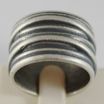 Silver Ring 925 Burnished Band with Righe Satin Vintage Style image 1