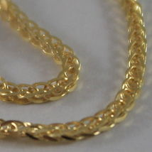 SOLID 18K YELLOW GOLD CHAIN NECKLACE WITH EAR LINK 15.75 INCHES, MADE IN ITALY image 4