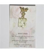 Bingo Angel Pin brooch hatpin lapel Gold Crystal Bingo Card - $3.95