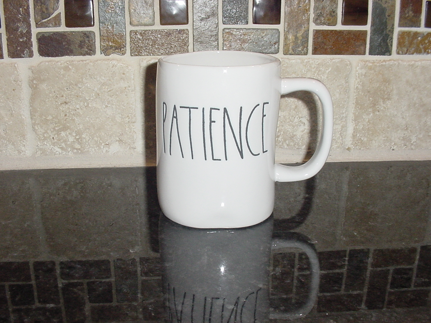 Rae Dunn PATIENCE Mug, Ivory with Black Lettering