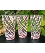 Red White Swirl Tumblers Blown Glass Beverage Iced Tea Drinking Glasses ... - $40.80