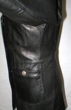 New Womens S Soft Karl Lagerfeld Paris Leather Jacket Black Silver Designer Lamb image 6