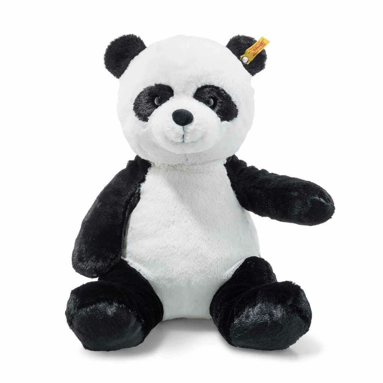 Steiff Soft and Cuddly Ming Plush Stuffed Panda Bear Button in Ear - 12 Inches