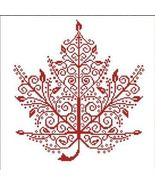 Maple Leaf cross stitch chart monochrome AAN Alessandra Adelaide Needlew... - $16.20