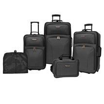 5-Piece Black Wheeled Luggage Set Carry On Tote Garment Bag Travel Gift New - $247.00