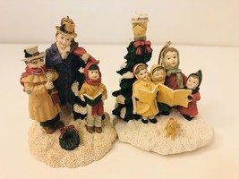 Pair Adorable Resin Figurines Ornaments Christmas Choral Musical Scene Xmas - $12.77