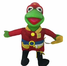 1990 Jim Henson Kermit the Frog Fireman Dress Me Plush Doll Teaches Matt... - $44.54