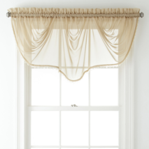 """Home Expressions Lisette Sheer Imperial Beaded Valance 90"""" W X 33 1/2"""" L Linen - $21.99"""