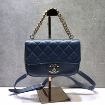 AUTHENTIC CHANEL BLUE QUILTED CAVIAR LEATHER 2 WAY TOP HANDLE MESSENGER BAG GHW