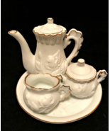 Doll Childs Porcelain Bisque Tea Set 6 Pieces Ivory Raised Roses Gold Tr... - $19.79