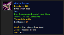 Glaive Tosser * World of Warcraft WoW Toy * All US/NA Servers - $48.60