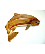 Rainbow Trout Fish Fishing Intarsia Wood Wall Art Home Decor Plaque Lodg... - $54.40