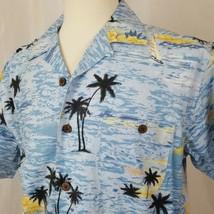 Joe Marlin Men's Hawaiian Shirt Rayon Blend Size L Blue Ocean Palm Tree ... - $16.90