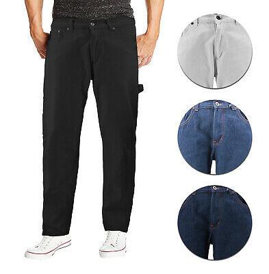 Men's Carpenter Work Jeans Hammer Loop Relaxed Fit Casual Cotton Denim Pants