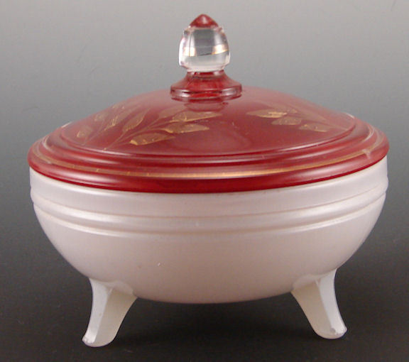 Indiana Glass #604 Covered Candy Dish Red White Gold Gilt