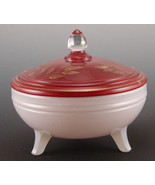 Indiana Glass #604 Covered Candy Dish Red White Gold Gilt - $15.47