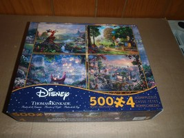 Disney Thomas Kinkade 4-in-1 Puzzles 500 Pc Fantasia  Winnie Tangled Lady Tramp - $18.69