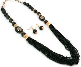Fashion Jewelry Set Indian Gold Plated Black Beads Kundan Necklace Earrings Set - $14.24