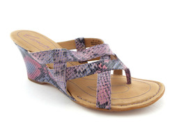 BORN CROWN Size 9 Purple Snake Print Wedge Sandals Shoes 40.5 - $44.00