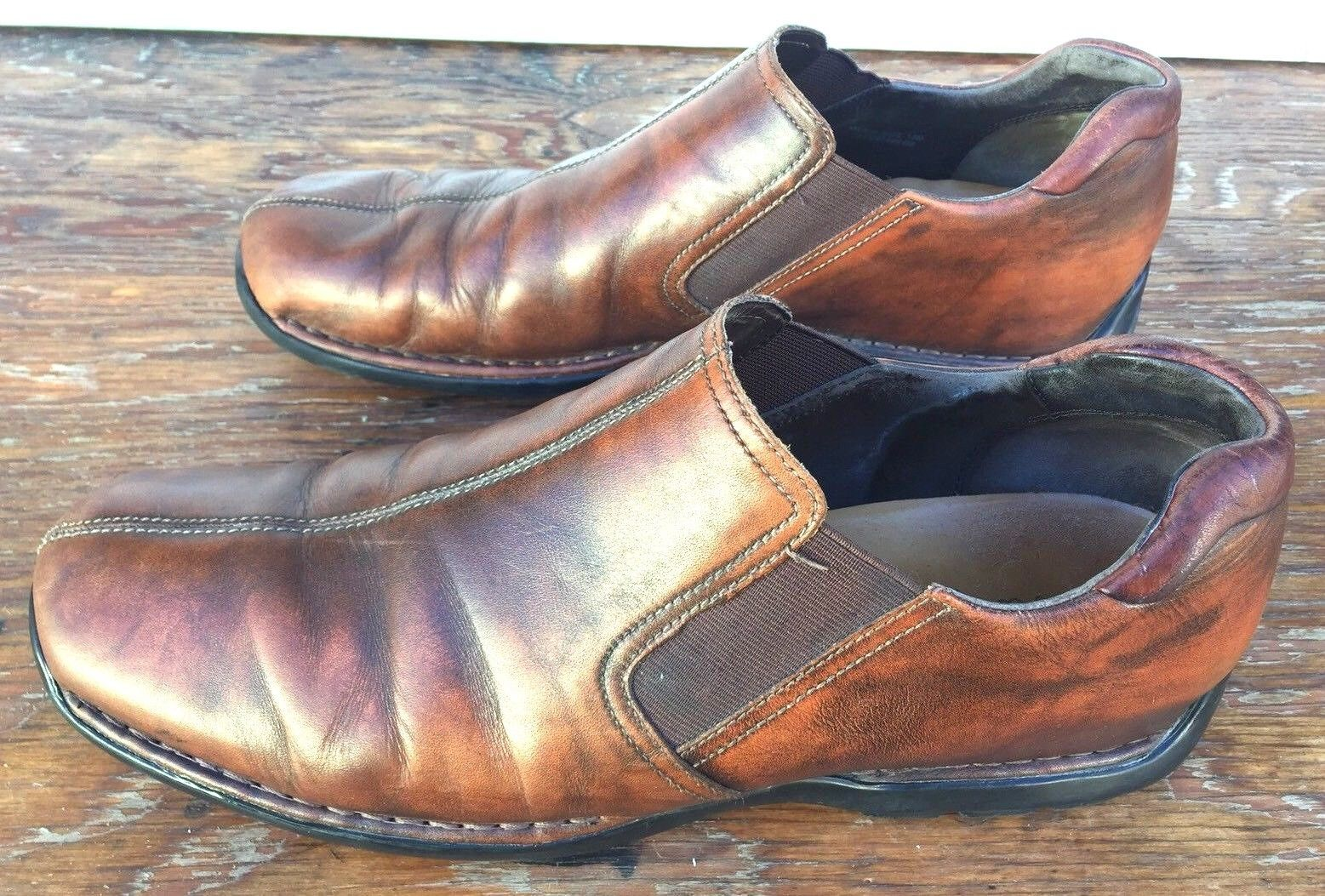 Cole Haan Grand Brown Leather Slip On Loafers Split Toe Driving Shoes Men 13 M