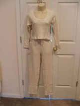 new/pkg frederick's of hollywood 2pc white/gold thermal top/pant  pj set Small - $18.55