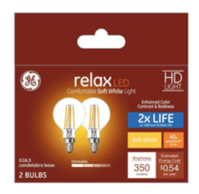 GE 40W Soft White 2700K High Definition G16 Globe Clear Dimmable LED 2 Bulb Pack - $18.00