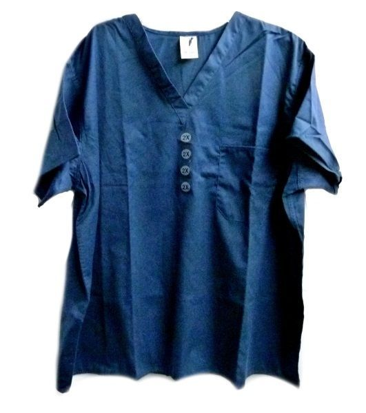 Primary image for Navy V Neck Tunic Top One Pocket 2XL Unisex Nursing Unbranded S/S 6557 New
