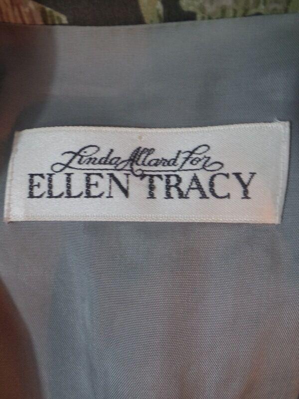 Linda Allard Ellen Tracy Blazer Petite 6 Silk Gray Taupe Purple Abstract DYNASTY