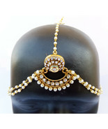 ETHNIC GOLDEN POLKI PEARL CZ MATHA PATTI HAIR HEAD CHAIN BRIDAL INDIAN J... - $26.13