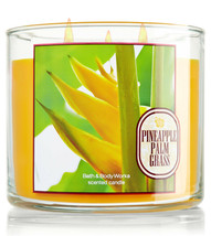 Bath & Body Works Pineapple Palm Grass Three Wick 14.5 Ounces Scented Ca... - $22.49