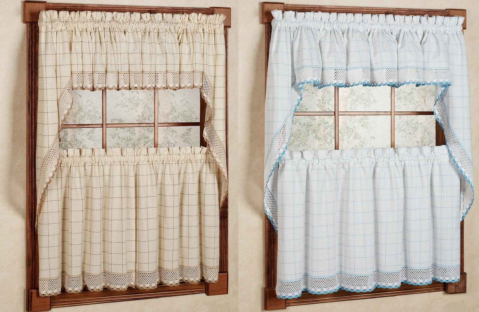 "Primary image for 24"" or 36"" Set - Adirondack Cotton Kitchen Window Curtain - White/Blue or Toast"