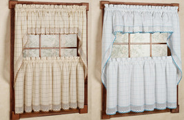 "24"" or 36"" Set - Adirondack Cotton Kitchen Window Curtain - White/Blue o... - $40.09"