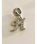 Lovely Silver Tone Silver CZ Initial Letter H Dangle Bead Charm For Brac... - $12.95