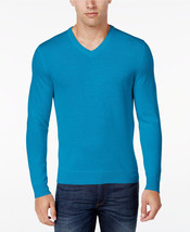NWT $96 Club Room Men's XLT Merino Wool Blend VNeck Sweater Bright Blue ... - £36.44 GBP