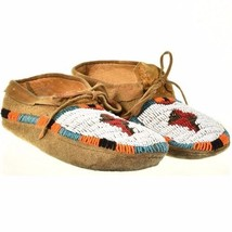 "Vintage Plains Indian Beaded Leather Moccasins 9.75"" Mens Womens c1950s/60s - $469.00"