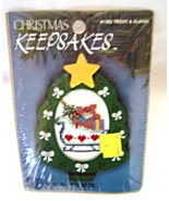 Cross Stitch 'N Frame Ornament Christmas Keepsake Teddy & Sleigh 1362 NI... - $8.49