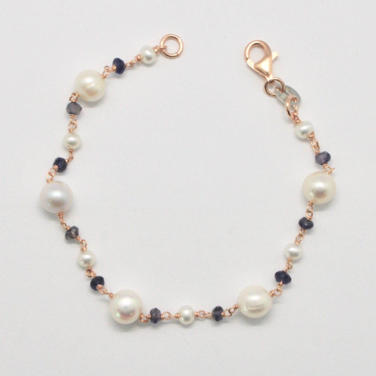 Silver 925 Bracelet with Pearls White Cultured Freshwater Potato & Iolite Made