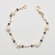 Silver 925 Bracelet with Pearls White Cultured Freshwater Potato & Iolit... - $88.75