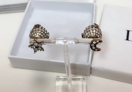 """Authentic Christian Dior Tribal Earrings """"DIOR TRIBALES"""" Crystal Moon Star Gold image 3"""