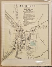 1872 antique ARCHBALD luzerne county MAP from Atlas w. h. gamble pennsyl... - $34.95