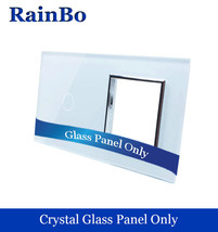 RainBo Luxury Crystal Glass Panel 2Frame 1gang touch wall switch socket hole EU - $22.95