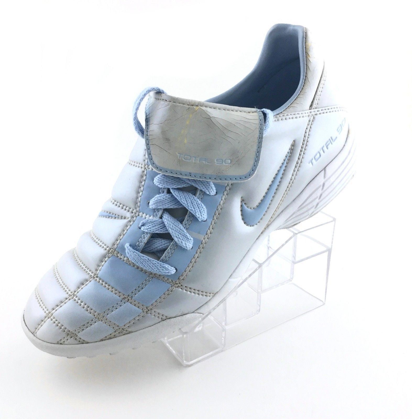 6c2634053367a 57. 57. Previous. Vintage Nike Total 90 Turf Soccer Shoes 031101 Size 6.5  Youth Silver RARE Retro. Vintage Nike Total 90 Turf ...