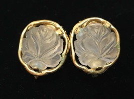 Napier Clip On Earrings Frosted Rose Shape Petal Gold Tone Metal Pair Vi... - $10.88