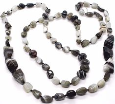 Long Necklace 120 cm, 1.2 Metres, Agate White Black Grey Banded image 3
