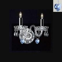 Murano Venetian Style Crystal Wall Sconce Lighting with Blue Hearts! - P... - $69.57