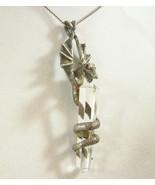 Pewter DRAGON Clear Crystal QUARTZ Pendant Necklace Rhinestone Eye Vintg... - $126.71
