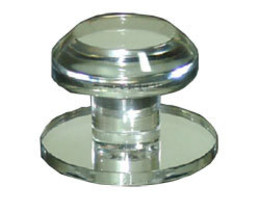 Clear Acrylic Stick-On Beveled Face Mirror Round Knob - $19.25