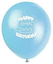 "Baby Blue Birthday Cake 8 Ct Latex 12"" Balloons - $3.13"