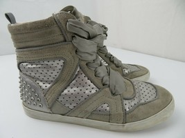 Gap Silver High Top Sneakers Girls Shoes Size 4 Ribbon Laces - $14.84