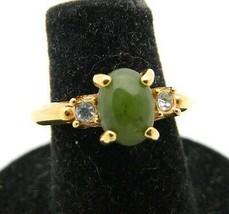 VTG AVON Gold Tone Jade & Clear CZ Rhinestone Ring Adjustable 5 to 6.25 - $13.86